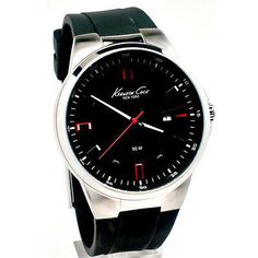 Kenneth Cole Men's Black Watch Round Black Dial Red Accents Rubber Strap KC1787