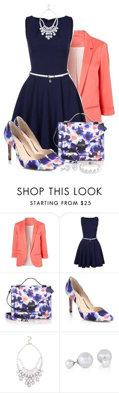 """""""Love is the greatest gift of all"""" by pulunen ❤ liked on Polyvore featuring Closet, Loeffler Randall, Ashley Stewart, Bling Jewelry, floral, coral, navy and blazer"""