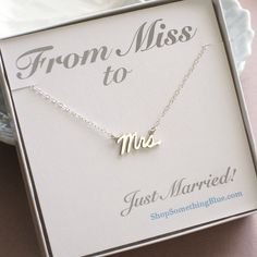 Mrs Script Necklace Sterling Silver Cursive by ShopSomethingBlue