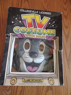 VTG 1989 Collegeville Tom (Tom &  Jerry Show) Halloween Costume with Mask Sz 7-8