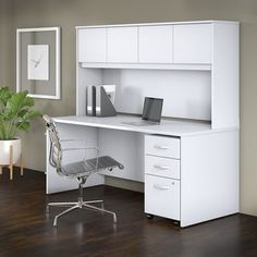 Studio C x Office Desk with Hutch and Mobile File Cabinet, White, Bush Business Furniture Home Office Design, Home Office Decor, Office Furniture, Furniture Sets, Business Furniture, Home Decor, Office Designs, Office Desk With Hutch, Desk Hutch