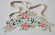 Wedding Banner Sign-Hand Painted Bride and Groom Names-Peach and Mint Seasons Bridal Wedding Mandap, Wedding Stage, Wedding Signs, Wedding Receptions, Wedding Beauty, Dream Wedding, Wedding Stationery, Wedding Invitations, Wedding Mint Green