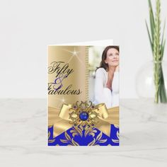 Fabulous 50th Blue Pearl Gold Leaf Bow Birthday Invitation | Zazzle.com 50th Birthday Party Invitations, Elegant Birthday Party, Photo Invitations, Blue Pearl, Party Stores, Party Photos, Paper Design, Gold Leaf, White Envelopes