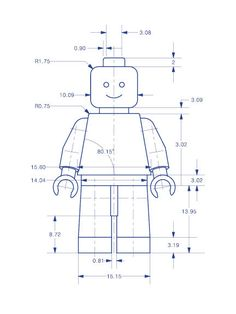 Toy+Figure+Technical+Drawing+in+Blue+6x8+Sample+Print+by+BARDARON,+$19.00