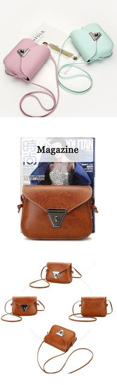 d8d41281b853 Women PU Leather Vintage Lock Crossbody Bags Shoulder Bags Borlas