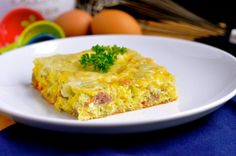 Easy Cheese and Sausage Egg Bake Sausage Egg Bake, Sausage And Egg, Cup Of Cheese, Easy Cheese, Baked Eggs, Stuffed Green Peppers, Quiche, Real Food Recipes, Macaroni And Cheese