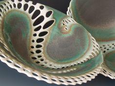 Two pierced bowls in porcelain with green grey glaze Clare Wakefield ceramics Slab Pottery, Pottery Bowls, Ceramic Pottery, Pottery Art, Ceramic Techniques, Pottery Techniques, Ceramic Clay, Ceramic Bowls, Stoneware