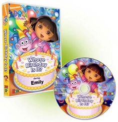 """In this photo personalized kid's DVD, your child joins Dora the Explorer, Boots and her friends as they go on an adventure to find out """"Whose Birthday Is It?"""" As your preschooler helps Dora and Boots in this personalized photo DVD, they will learn spanish as well as problem solving skills. This photo personalized DVD is approximately 26 minutes."""