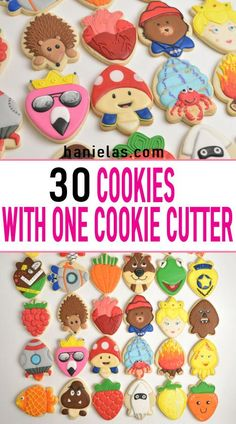 How to make 30 creative cookie designs with one cookie cutter. Decorate your favorite movie character cookies with royal icing. How to make 30 creative cookie designs with one cookie cutter. Decorate your favorite movie character cookies with royal icing. Easy Sugar Cookies, Cut Out Cookies, Iced Cookies, Cute Cookies, Royal Icing Cookies, Cupcake Cookies, Baby Cookies, Royal Icing Decorated Cookies, Sugar Cookie Icing