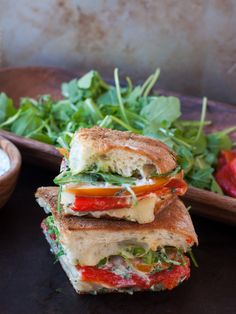 roasted red pepper panini with cilantro-lime mayo - Marin Mama Cooks
