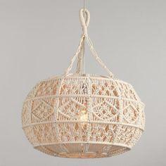 Ivory Macrame Sphere Pendant Lamp by World Market Antique Whitewash Wood Bead Chandelier Wood Bead Chandelier, Hanging Pendants, Pendant Lighting, Hanging Lamps, Pendant Lamps, Chandeliers, Boho Lighting, Lantern Chandelier, Bedroom Lighting