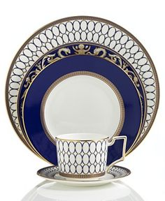 """Wedgwood """"Renaissance Gold"""" Dinnerware Collection - Wedgwood Fine China Dinnerware - Dining & Entertaining - Macy's Fine China Dinnerware, Dinnerware Sets, Wedgewood China, China Sets, Dinner Sets, Dinner Ware, Dinner Plates, Blue China, China Patterns"""