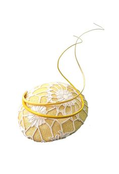 Yellow Sinnamay Beret with Ivory Corded Lace by TheHatteryByPKM, $240.00