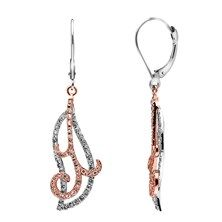 0.75 CTW Diamond Swirl Dangle Earrings in 14KT White and Rose Gold.