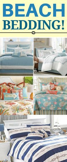 BEST BEACH BEDDING! Discover the absolute best beach themed bedding sets. We have beach and coastal bedding including comforters, duvet covers, quilts, sheets, shams, throw pillows, and more.