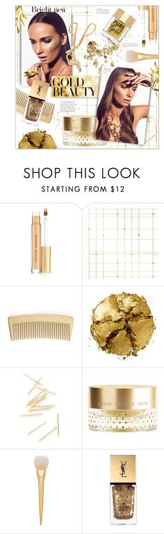 """""""golden girls: gold beauty"""" by jesuisunlapin ❤ liked on Polyvore featuring beauty, Kevyn Aucoin, Tempaper, AERIN, Pat McGrath, Orlane, Yves Saint Laurent, shu uemura, Beauty and makeup"""