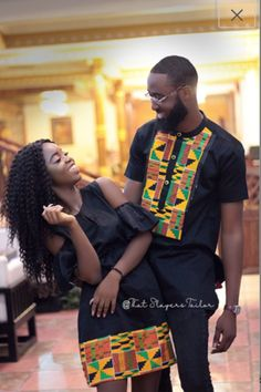 Kente and black couple wear for all events.Quality and unique wear Couples African Outfits, African Fashion Ankara, Latest African Fashion Dresses, African Dresses For Women, African Print Dresses, Couple Outfits, African Print Fashion, Africa Fashion, African Attire