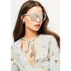 Missguided Club Sunglasses ($16) ❤ liked on Polyvore featuring accessories, eyewear, sunglasses, silver, block sunglasses, silver glasses and silver sunglasses