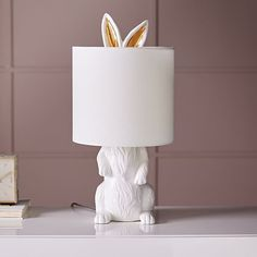 A cute gift idea for Easter: a White Rabbit Drum Shade Table Lamp for Home and Nursery Decor.   For more DIY lamp ideas, tutorials and supplies go to www.ilikethatlamp.com
