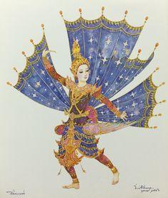"""Kingkara Dance"", 2003, watercolor on paper, by Chakrabhand Posayakrit, a Thai national artist"