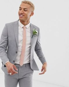 Buy River Island skinny fit suit jacket in grey at ASOS. With free delivery and return options (Ts&Cs apply), online shopping has never been so easy. Get the latest trends with ASOS now. Summer Wedding Suits, Grey Suit Wedding, Summer Suits, Wedding Men, Men Summer, Wedding Suits For Men, Asos Wedding, Mens Fashion Sweaters, Mens Fashion Suits