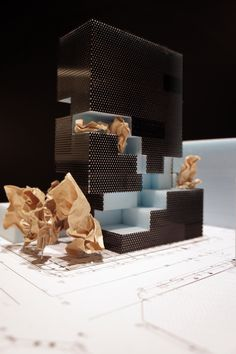 Architecture Ilario Occhipinti maquette geperforeerd circulatie concept schil volumeschakeling ruimteschakeling binnenbuiten