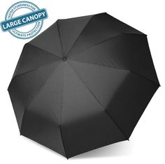 "SWISH Wind Resistant Travel Umbrella - Auto Open/ Close Button for Easy Operation - Large 40.1"" Diameter Canopy with 210T Super Water Repellent Fabric - Compact and Lightweight - Lifetime Guarantee - One Size - Black"