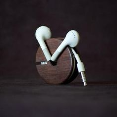 Wood earbud holder. Sweet.