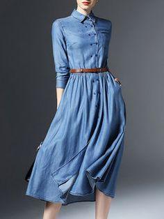 LOOOOVE!!!! Pockets Buttoned Denim Midi Dress with Belt