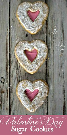 Easy Heart Shaped Cookies for Valentine's Day - Heart sandwich cookies with pink frosting and powdered sugar