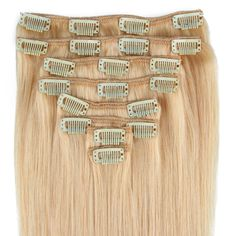 """Beauty7 16-28 Inch Clip in Real Remy Human Hair Extensions #24 Natural Blonde 8pcs 120g (26""""). Imported & Brand new. Super hold clip in hair extensions. High quality, silky, soft, tangle free. 100% real human hair, can be permed, straightened & washed. 20 clips 8pcs (width: 2 of 8"""" 4 clips, 2 of 6"""" 3 clips, 2 of 4"""" 2 clips, 2 of 2"""" 1 clip)."""