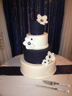 Navy blue wedding cake! By Sweet-n- Sissy Cakes