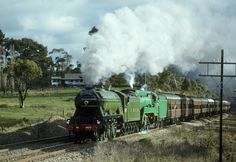 """""""Night Mail to Dubbo"""". LNER Class A3 4472, The Flying Scotsman, and 3801 climb towards Rydal, heading back to Sydney, Main West, NSW, 12th June, 1989"""
