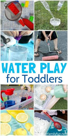Water Play Ideas for Toddlers - Creative Family Fun - - Splash and have fun with one of these water play ideas for toddlers. You can play indoors and outdoors with these fun sensory play ideas. Water Play Activities, Toddler Learning Activities, Summer Activities For Kids, Sensory Activities, Infant Activities, Sensory Play, Games For Kids, Outdoor Toddler Activities, Water Games