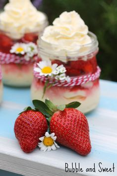 Bubble and Sweet: Strawberry and Cream Cheesecakes in a Jar