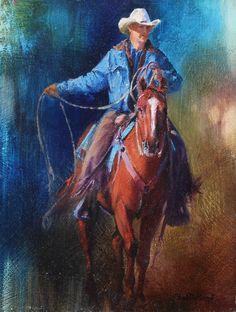 "Work by WA Member Paul Dykman, ""Teachin' 'em the Ropes"", oil, www.pauldykman.com"