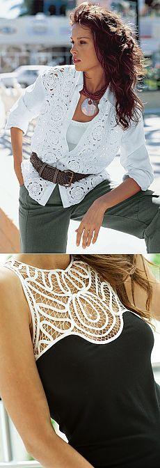 Elegant White Dress, Point Lace, Irish Crochet, Blouse Styles, Shirt Blouses, Fashion Blouses, Victoria, Necklaces, Sweatshirts
