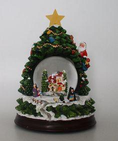 22.9cm Musical Christmas Tree Shaped Decoration With Snow Globe + LEDs (WG3) | eBay