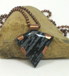 Unisex Snowflake Obsidian Triangular Cabochon With Copper Pendant   BDJDesigns - Jewelry on ArtFire