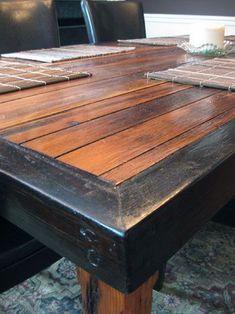 reclaimed wood dindin table - beams for legs!