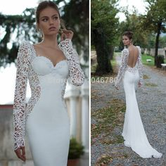 2014 New Romantic Illusion Lace Mermaid Wedding Dresses Sexy Backless Long Sleeve Sweetheart Chiffon Custom Made Bridal Gowns