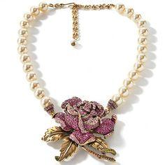 "Heidi Daus ""Rose Elegance"" Simulated Pearl 17"" Necklace"
