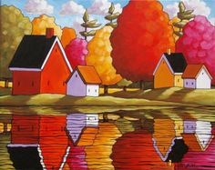 PAINTING ORIGINAL Folk Art Fall River Cottage por SoloWorkStudio