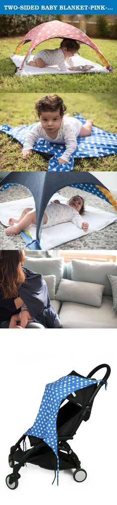TWO-SIDED BABY BLANKET-PINK-Multifunctions: Baby tent,picnic blanket,nursing cover,stroller blanket. Two-sided soft and pleasant to the touch fabric Baby or toddler blanket. The Blanket is made from two layers of soft fabric, one side is solid jeans color and the other is printed (Galaxy grey / Sparkling pink / Pink & white stars). Due to the fabrics shape and laces in the four corners the blanket multi-functional as: nursing cover, stroller blanket, Stroller Sunshade, picnic blanket for...