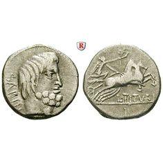 Römische Republik, L. Titurius Sabinus, Denar, ss: L. Titurius Sabinus 89 v.Chr. Denar 17 mm Rom. Kopf des Tatius r. SABIN / L… #coins