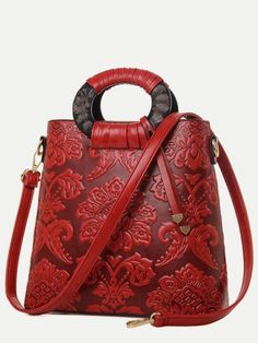 65cbc495a4 Vinfemass National Style Flowers Embossing Shoulder Tote Bag