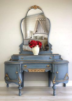 Painted Furniture Vintage Vanity Makeup Mirror Farmhouse - painted furniture #ad blue