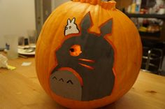 Totoro painted and carved pumpkin