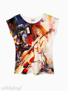 Artystyczna bluzka damska - wiolonczelistka. $27