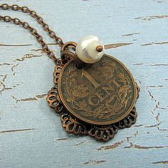 Dutch coin necklace with filigree and pearl 1921 by AdornmentsNYC #Etsy #coin #necklace